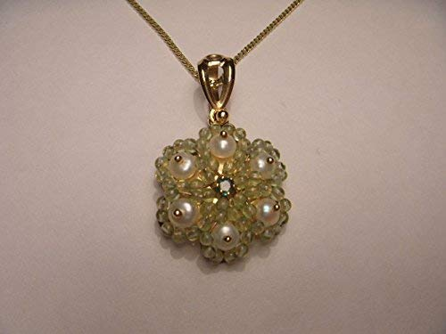 Victorian Estate 14K Yellow Gold Emerald Seed Pearl Peridot Pendant Slide
