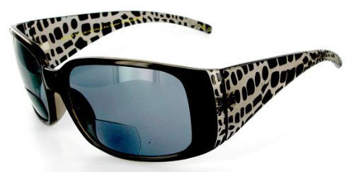 Grand Cayman designer fashion Bifocal Sunglasses for youthful and active women who want to read in comfort as they work or have fun in the sun. (Black w/ Smoke Lens - Perth Sunglasses