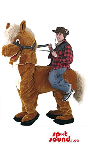 Brown Horse Mascot SpotSound US With Red Tongue And Human Walker Riding