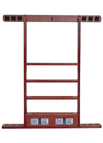 Sterling Gaming Economy Wall Rack (6 Cue with Ball Rack and Scorers), Mahogany