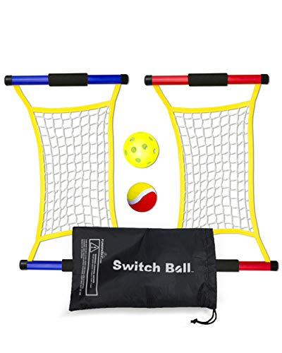 Switch Ball Game Set with 2 Launch Mesh Nets and 2 Balls, 1 Tennis & 1 Pickle Ball - Lightweight and Durable Fun Toy for Kids Teens Families - Indoors and Outdoors