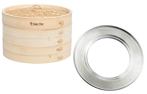 Helen Chen's Asian Kitchen 10-Inch Bamboo Steamer and 11-Inch Steaming Ring