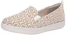 Clarks Women's Step Glow Slip Loafer Flat, Natural/White Weave, 085 M US