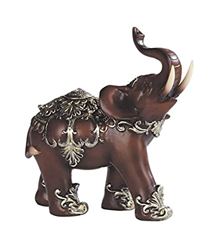 Collectible Thai Elephant Wooden Look Polyresin Statue Figurine (6inch, KL097) Fortune