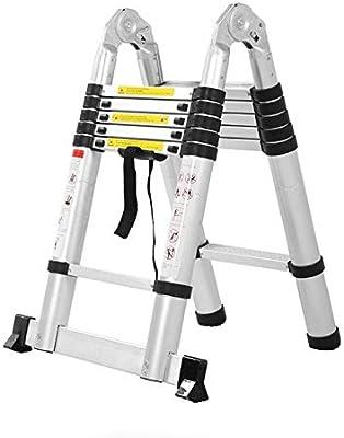 WTFYSYN Aleación de Aluminio Plegable portátil Extensible, Escalera Plegable para el hogar, Escalera Plegable de Aluminio, escaleras de extensión de Aluminio: Amazon.es: Deportes y aire libre