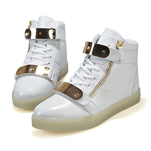Joansam Led Shoes High Top Uomo & Donna Light Up Shoes Sneakers Lampo Metallo Carica Lampo In Metallo Bianco