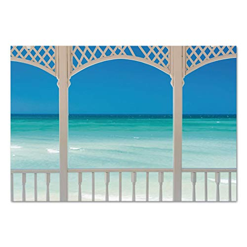 Large Wall Mural Sticker [ Beach Theme Decor,Coastal Decor Maldives Tropic Ocean Cuban Shore Photo,Sky Blue Turquoise and White ] Self-adhesive Vinyl Wallpaper / Removable Modern Decorating Wall Art