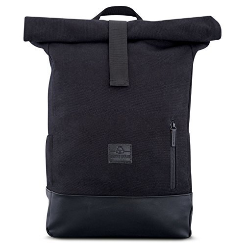 Canvas Backpack Men & Women Black - JOHNNY URBAN Cotton & Vegan Leather Roll Top Daypack - Durable Vintage 18 - 22 Litre Rucksack day-to-day Bag - Water-repellant & very Flexible