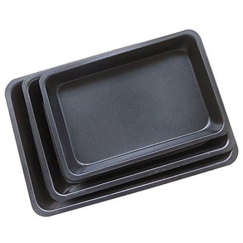 Baking Pan,3Pcs Rectangle Carbon Steel Non-stick Cookies Plate Bakeware By Hmane (9x13 Stoneware Baking Pan)