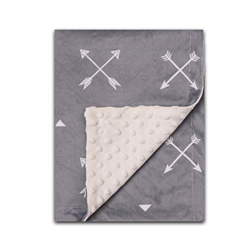 Minky Blanket Baby Soft Baby Blanket Gender Neutral Gray Arrow Double Layer Dotted Backing - Plush Blanket Baby Fleece for Newborns, Girls, Boys,Nursery,Stroller,Crib Receiving Blanket Infant Unisex