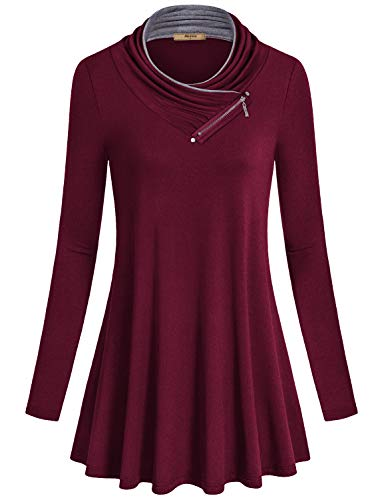 Miusey Plus Size Tunic,Feminine Casual Loose A Line Tunics Burgundy Sweatshirt Cowl Neck Flattering Oversize Plain Fancy Blouses Shirttail Hem Shirts Trim with Metal Studs Wine Red XXL