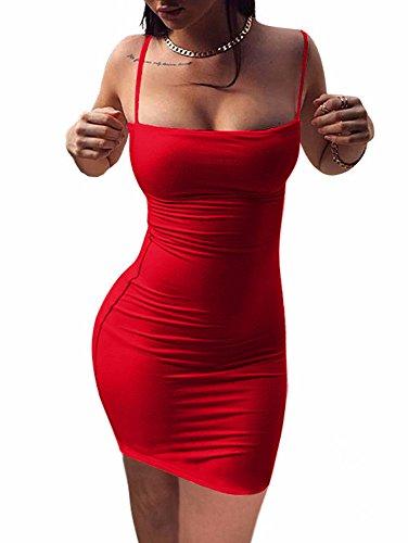 BEAGIMEG Women's Sexy Spaghetti Strap Sleeveless Bodycon Mini Club Dress Red - Tight Red Dress