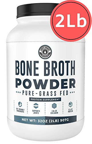 Bone Broth Powder, 2lb Pure Grass Fed Beef Bone Broth Protein Powder - Unflavored. Rich in Collagen, Glucosamine & Gelatin, Paleo Protein Powder, Keto, Gut-Friendly, Non-GMO, Dairy Free. (32oz)