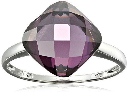 Sterling Silver Cushion Light Amethyst Cubic Zirconia Ring, Size 8