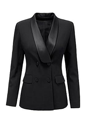 LookbookStore Women's Lapel Double Breasted Long Sleeve Work Blazer Jacket Coat