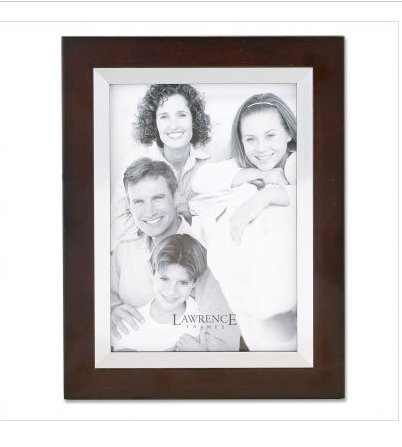 Lawrence Frames Walnut Wood 11 by 14 with Silver Metal Inner Bezel Picture Frame