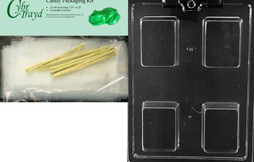 Cybrtrayd Mdk25G-AO140 Plain Krispy Treat Rectangle Bar All Occasions Chocolate Candy Mold with Packaging Bundle of 25 Cello Bags, 25 Gold Twist Ties and Chocolate Molding Instructions - Occasions Candy Mold