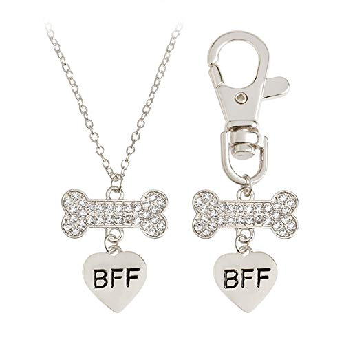 Romanticworks 2pcs Friendship Jewelry Dog Bone Best Friends Charm Necklace Keychain BFF Bones Design (Crystal Bone Silver)