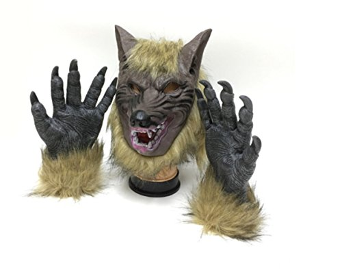 Yanguan Natural Latex Wolf Mask with 1 Pair Werewolf Hands Gloves