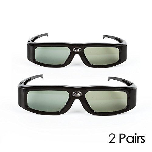 2 Pack SainSonic GX-30 3D Glasses Active Shutter 144Hz Rechargeable for Universal DLP-Link Ready Projectors, BenQ, Optoma, Dell, Mitsubishi, Samsung, Acer, Vivitek, NEC, Sharp, ViewSonic - Black