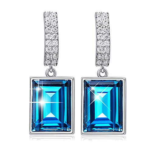 CDE 925 Sterling Silver Dangle Drop Earrings Embellished with crystals from Swarovski Sapphire Fine Jewelry Gift for Mothers Day Magical Meteorite