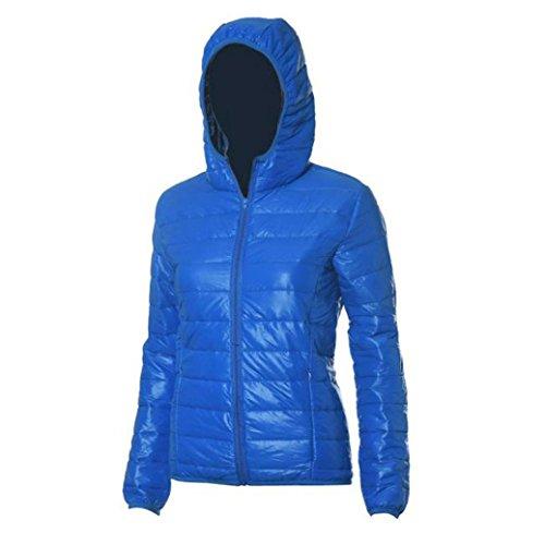 manga invierno y capucha con de de delgada Azul mujer capucha de sección de larga Abrigo de Chaqueta algodón capucha moda con Internert de informal xPnYzY