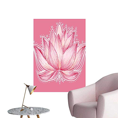 Wall Decor for Home Living Room Meditati Plant Asian Zen Spiritual Chakra Print Baby Pink Cream Safe Painted Wall Decoration,16