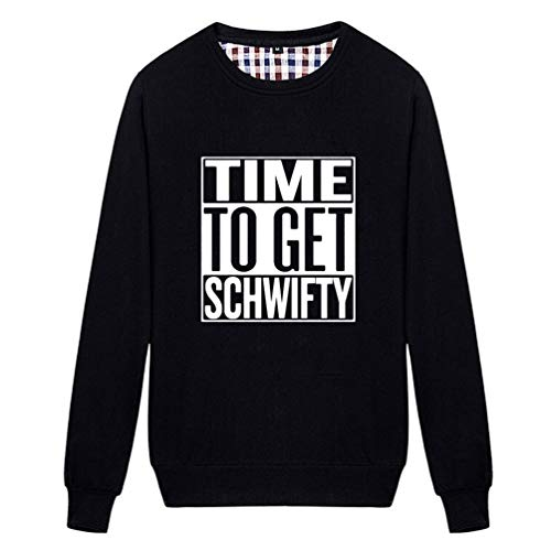 Unisex Time to Get Schwifty Novelty Graphic Sweatshirt (Black X-Large)