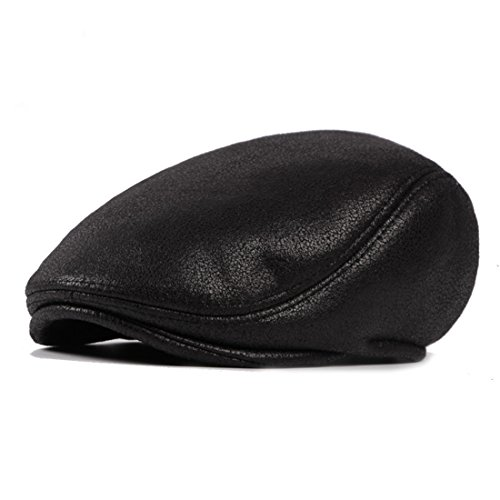 Vintage Pu Leather Newsboy Cap Irish Hats Solid Beret Hat Ivy Flat Golf Driving Hat - Black (Cap Twill Solid Dyed Pigment)