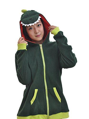 Adult Dinosaur Costume Long Sleeve Zip Up Hoodies Sweatshirt (Dinosaur Hoodie Costume)