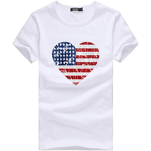 SSYUNO Womens Basic Short Sleeve T-Shirt Casual Summer American Flag USA Patriotic Tops Independence Day Shirt