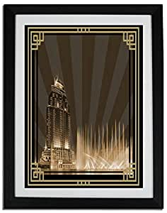 Address Hotel Down Town- Sepia With Gold Border No Text F06-m (a5) - Framed