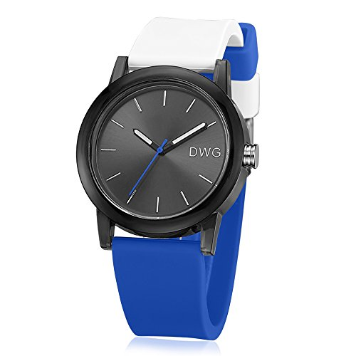 (DWG Waterproof Bule and White Silicone Strap Sport Watch with Plastic Watch Case for Man Woman ...)