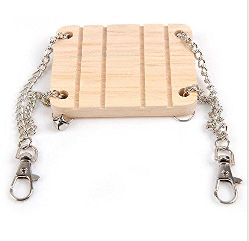 CC*CD 1 pieza de hámster pequeño mascota material de madera Swing con campana