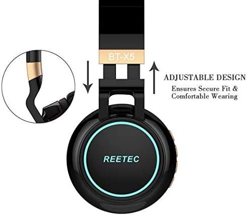 Reetec Bluetooth Headphones Over Ear, Colorful Lights Headphones Wireless with Backup Cord, Stereo Deep Bass Sound Earphones with CVC 6.0 Mic, TF Card Slot for iPad Tablet TV Airplane School, Black 41ZfgGtxKtL