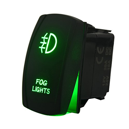 Switch Fog - MicTuning LS081601 5pin Fog Rocker Switch ON-Off LED Light 20A 12V Green