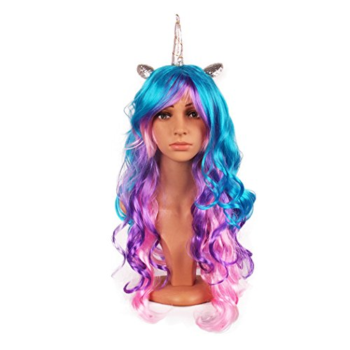 Blonde Horn - Unicorn Horn Costume Wig Cosplay Party Hairpiece Headpieces with Adjustable Mesh