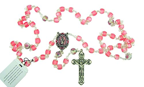 DTC Our Lady Rosary with Pink Catseye Our Father Prayer Beads