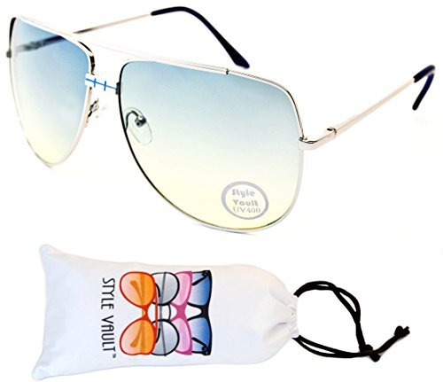 A100-vp Style Vault Polygon Oversized Aviator Sunglasses (S3173V Silver/Blue-greenish smoked, - Sunglasses Rectangle Aviator