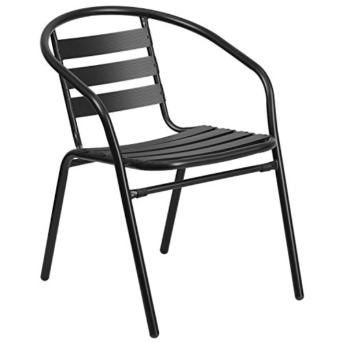 Flash Furniture Black Metal Restaurant Stack Chair with Aluminum Slats Patio Furniture Stack Chairs