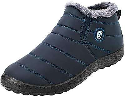 FEETCITY Womens Winter Snow Boots Waterproof Anti-Skid Plush Lining Slip On Flat Ankle Outdoor Couples