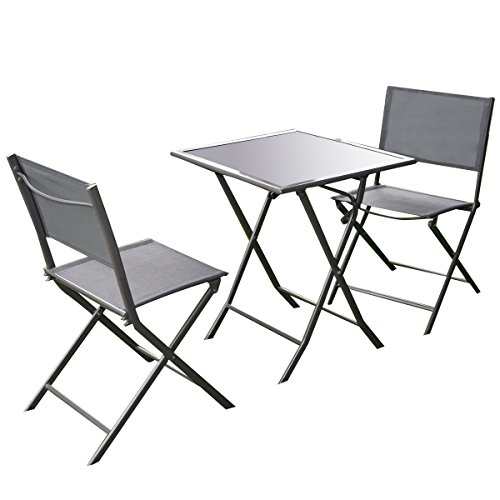 Giantex 3 Pcs Bistro Set Garden Backyard Table Chairs Outdoor Patio Furniture Folding (Bistro Garden Chairs)
