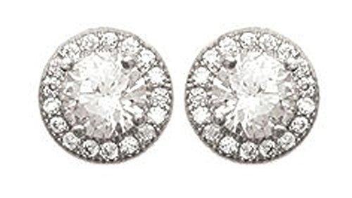 Boucles d'Oreilles en Argent 925/000 et Oxyde de Zirconium - Rond, Cercle en Strass, Brillants Blanc - Bijoux Femme