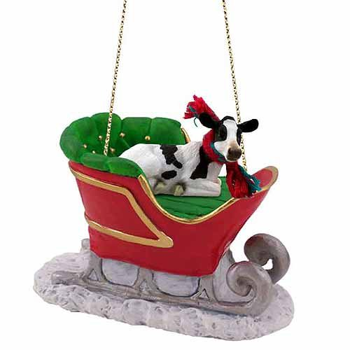 Holstein Cow Sleigh Ride Christmas Ornament - DELIGHTFUL! by Conversation -