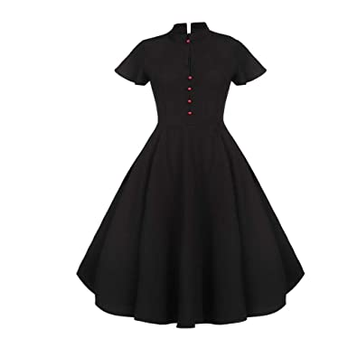 ZHJA Señoras Temperamento Negro Retro Big Swing Skirt Stand Collar ...