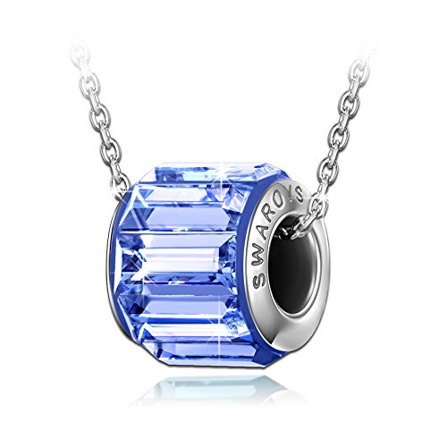 QIANSE September Birthstone Necklace Made with Swarovski Crystals, pendant necklace, Sapphire bead charms, birthstone necklace jewelry for women