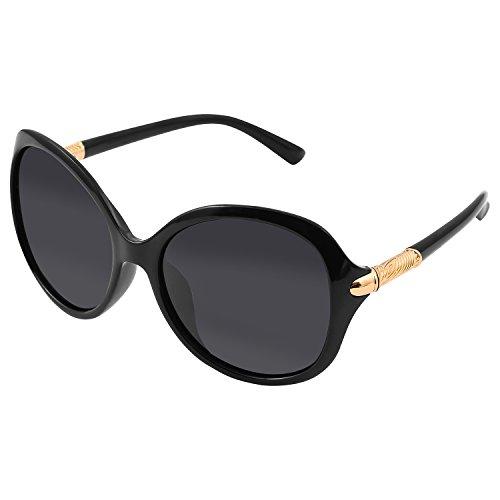 Super Big Circle Shades Ultralight Eyeglasses Smoke Dark Black Sunglasses Gold