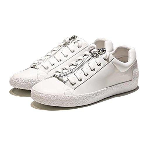 Las Mujeres De La Lona Deshilachan La Personalidad Dermis Zipper Pentagram Fashion Skateboard Shoes White