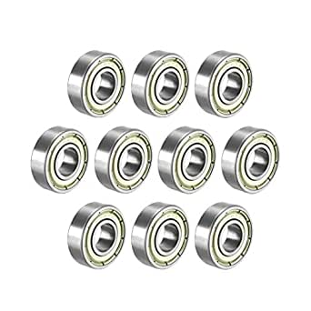 uxcell 698ZZ Deep Groove Ball Bearing Double Shield 698-2Z 1080098, 8mm x 19mm x 6mm Carbon Steel Bearings (Pack of 10)