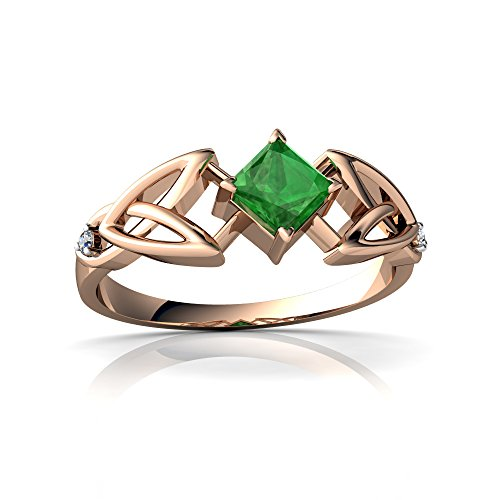 14kt Rose Gold Emerald and Diamond 4mm Square Celtic Trinity Knot Ring - Size 4 14kt Diamond Trinity Knot Ring